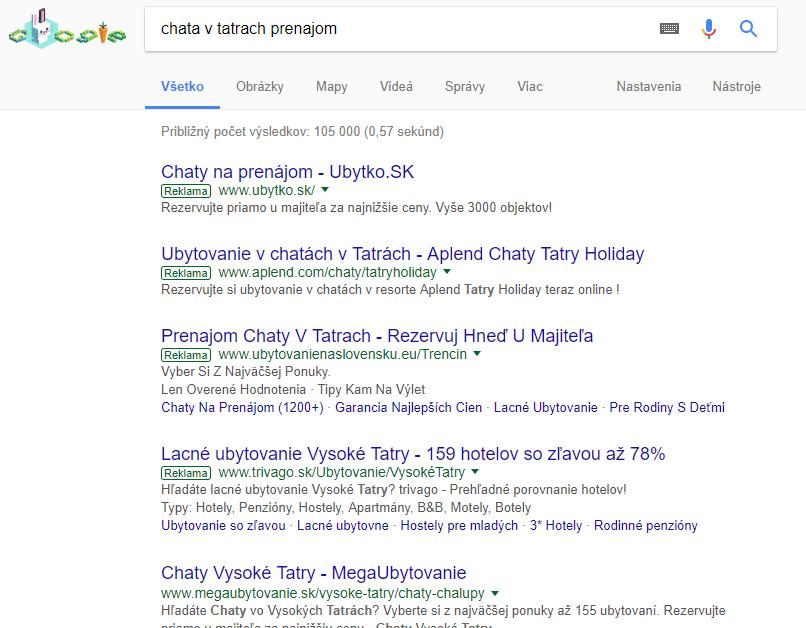 Prvé 4 miesta sú vyhradené pre Google reklamu.